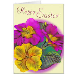Primula Happy Easter cream pink art card
