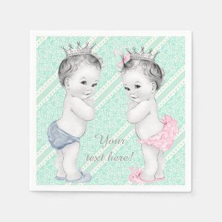 Prince and Princess Twin Baby Shower Disposable Napkins