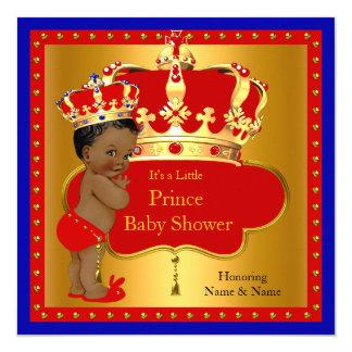 Prince Baby Shower Red Royal Blue Boy Crown Ethnic 13 Cm X 13 Cm Square Invitation Card
