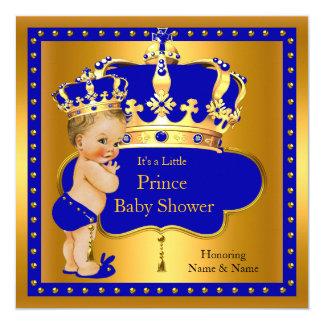Prince Baby Shower Royal Blue Boy Crown Blonde Card
