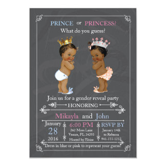 Prince or Princess Gender Reveal African American Card