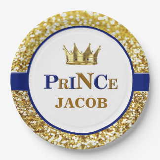 Prince plates | Navy and gold prince plates 9 Inch Paper Plate