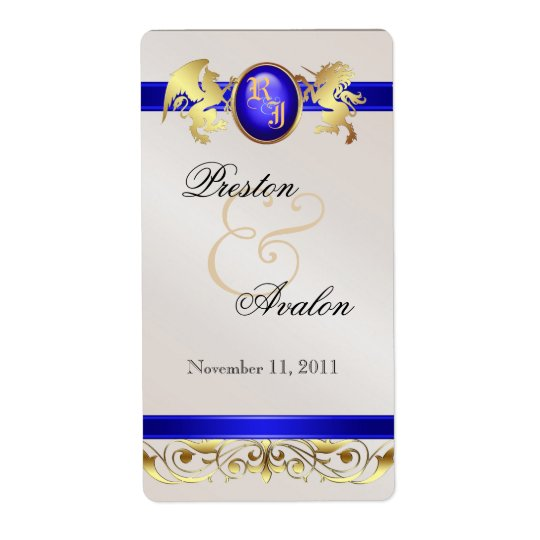 Prince & Princess Blue Jewel Wine Wedding Label Shipping Label