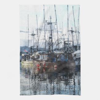 Prince Rupert Fishing Boats Watercolour Mojo Towel
