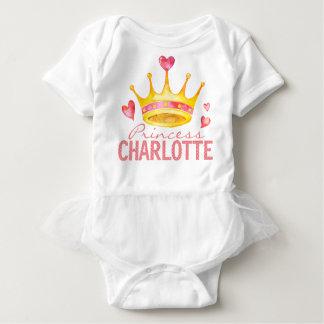 Princess Baby Girl Name   Custom Monogrammed Tiara Baby Bodysuit