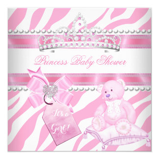 Princess Baby Shower Girl Zebra Pink White Bear Card