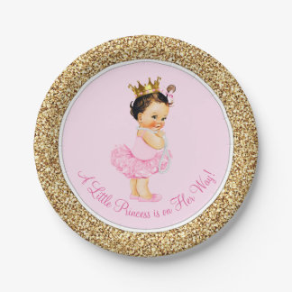 Princess Ballerina Pink Gold Baby Shower Paper Plate