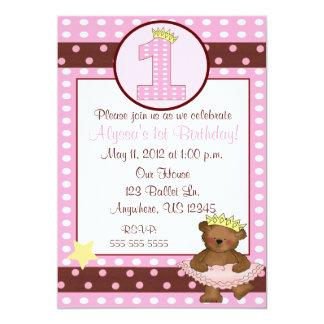 Princess Ballet Bear Girls 1st Birthday Invitation