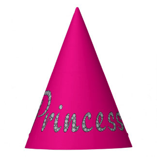Princess bling customizable background color party hat