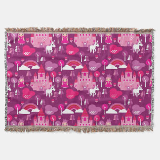 princess castle and unicorn rainbow throw blanket