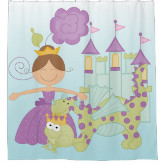 Princess Castle Frog Prince Dragon Shower Curtain