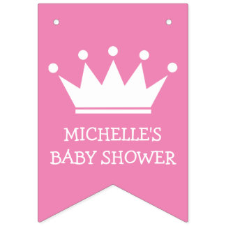 Princess crown baby shower party bunting banner