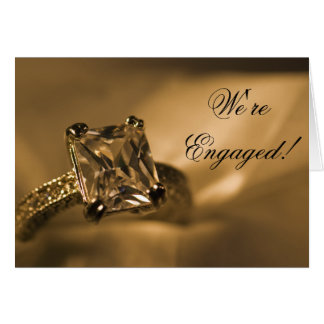 Princess Diamond Engagement Announcement Greeting Card