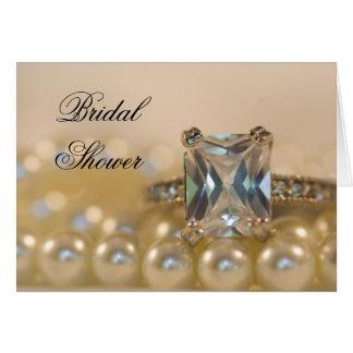 Princess Diamond Ring Pearls Bridal Shower Invite Greeting Card