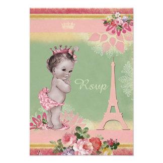 Princess Eiffel Tower Baby Shower RSVP Custom Invite