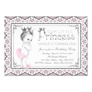Princess First Birthday Party Card