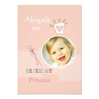 Princess First Birthday - Photo Birthday Party  In Card