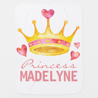 Princess Monogrammed Any Girls Name   Custom Tiara Baby Blanket