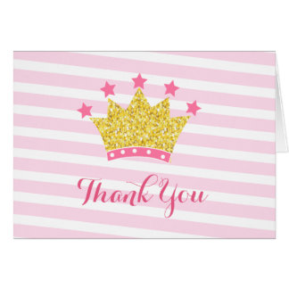 Princess pink and gold birthday thank you notes
