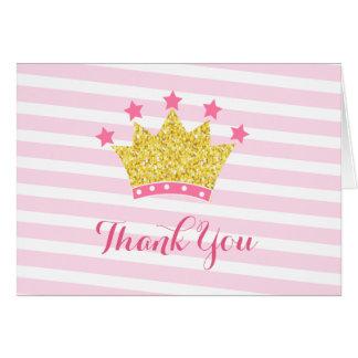 Princess pink and gold birthday thank you notes greeting card