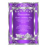 Princess Quinceanera 15th Party Purple Silver 13 Cm X 18 Cm Invitation Card