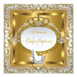 Princess Quinceanera Elite Elegant Gold High Heels 13 Cm X 13 Cm Square Invitation Card