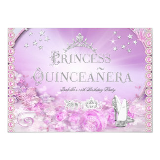 Princess Quinceanera Magical Pink Purple Silver 4 Card