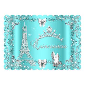 Princess Quinceanera Magical Teal Blue Silver heel 13 Cm X 18 Cm Invitation Card