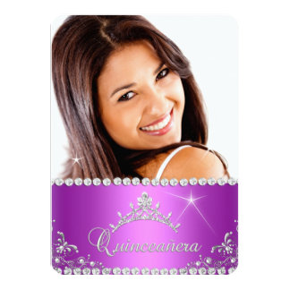 Princess Quinceanera Photo Purple Pink 4.5x6.25 Paper Invitation Card
