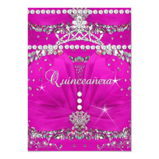 Princess Quinceanera Pink Bejewelled Dress 4.5x6.25 Paper Invitation Card