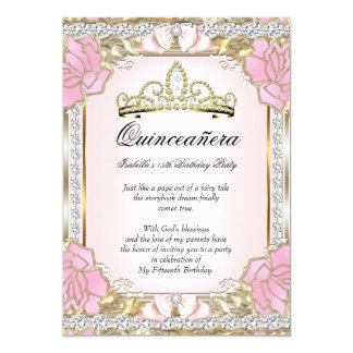 Princess Quinceanera Pink Gold 15th Birthday 2 13 Cm X 18 Cm Invitation Card