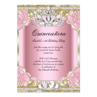Princess Quinceanera Pink Gold 15th Birthday Party Card