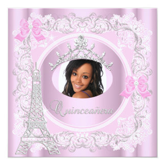 Princess Quinceanera Pink Lace Photo Card