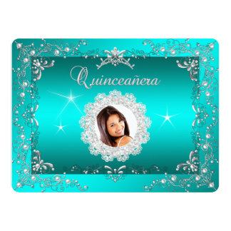 Princess Teal Blue Quinceanera Silver Birthday Card