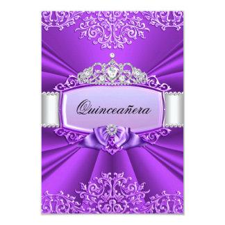 "Princess Tiara & Damask Quinceanera Invitation 3.5"" X 5"" Invitation Card"
