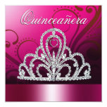 Princess Tiara Quinceanera (fuschia) 13 Cm X 13 Cm Square Invitation Card