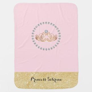 Princess with Gold Tiara with Diamond - Baby Girl Baby Blanket