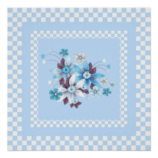 Print Country Style Blue White Check Floral