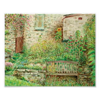 Print of Watercolor Painting Cottage Garden