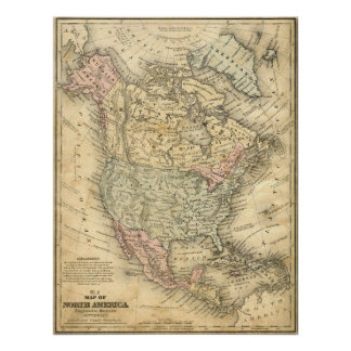 Print Vintage Map of North America