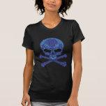 Printed Blue Rhinestone Skull & Crossbones Shirts