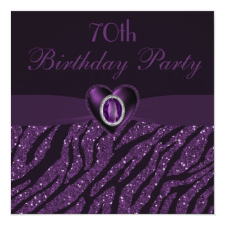 Printed Jewel Heart & Zebra Glitter 70th Birthday Card