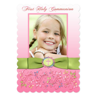 PRINTED RIBBON 1st Holy Communion Photo Invitation