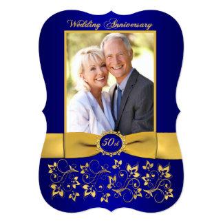 PRINTED RIBBON 50th Anniversary Invite - Blue 2
