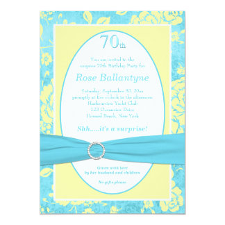 PRINTED RIBBON Blue Yellow 70th Birthday Invite
