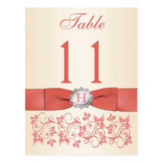 PRINTED RIBBON Coral, Champagne Table Number Postcard