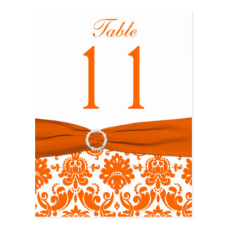 PRINTED RIBBON Orange Damask Table Number Postcard
