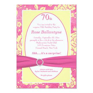 PRINTED RIBBON Pink Yellow 70th Birthday Invite