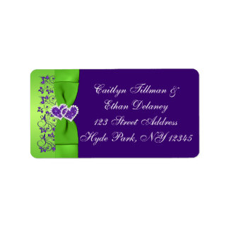 PRINTED RIBBON Purple, Green Wedding Address Label