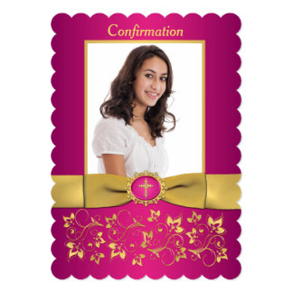 PRINTED RIBBON Scallop Edged Confirmation Photo Card